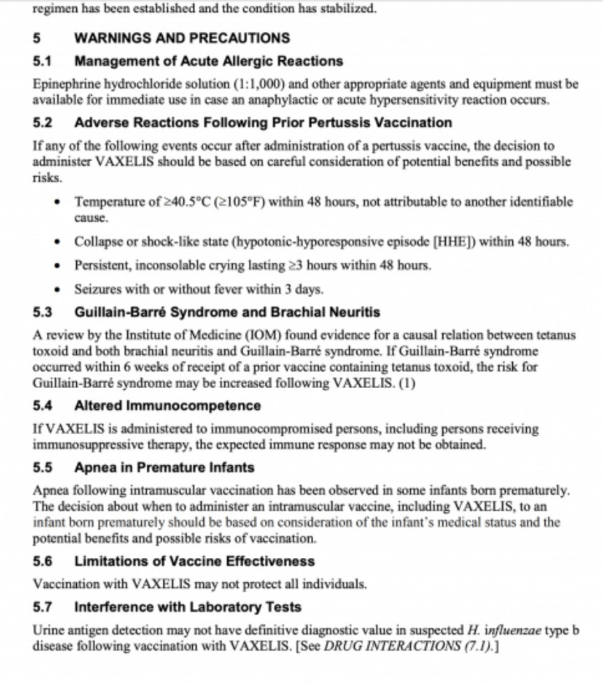 I Managed to Find a Portion of the Package Insert for the Newly Approved &  DANGEROUS Infant Vaccine –Vaxelis®