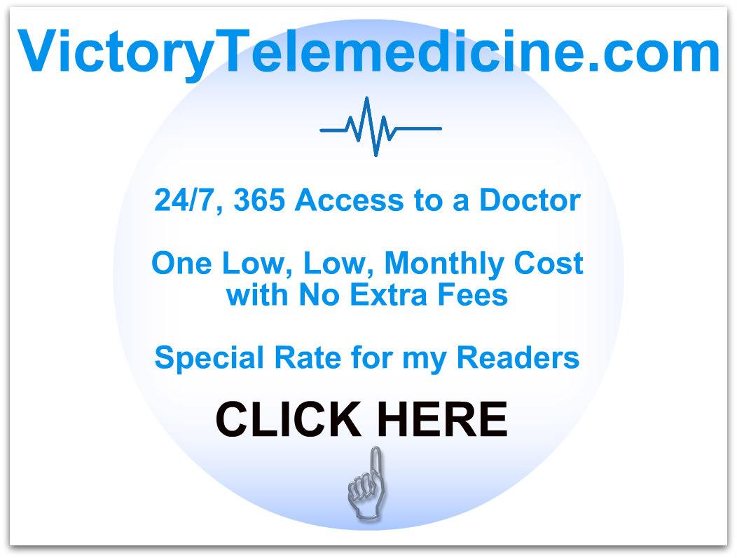 victory telemedicine ad white and blue